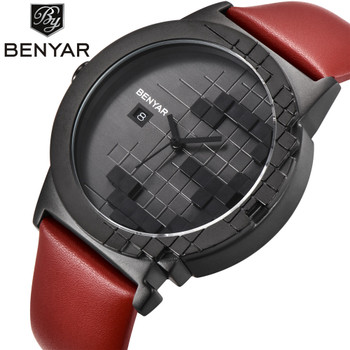 BENYAR Brand Luxury Quartz Dress Watch Waterproof Leather Creative Design Auto Date Fashion Casual Men Watches Relogio Masculino