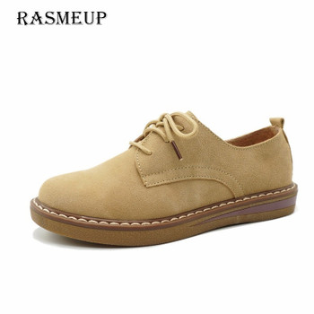 RASMEUP Genuine Suede Leather Women's Oxford Shoes 2018 Spring Women Lace Up Flat Sneakers Woman Boat Flats Moccasins Shoes