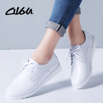O16U 2018 Spring Women Oxfords Flats Shoes Genuine Leather Pointed Toe Ladies moccasins lace up loafers white shoes Sneakers