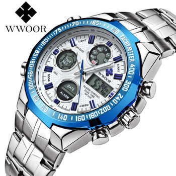 WWOOR Military Watches Men 2017 Army Waterproof Luminous Alarm LED Analog Stop Quartz Wristwatch Male Clock Relogio Masculino