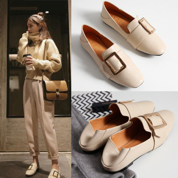 Women Flats Faux Genuine Leather Shoes Ladies Loafers Comfortable  Slip-on Moccasins Casual Shoes Women Boat Square Toe nude