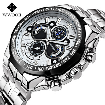 Top Brand Luxury WWOOR Men Watches 30m Waterproof Quartz Sports Watch Men Stainless Steel Clock Male Casual Military Wristwatch