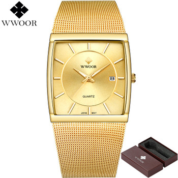 New WWOOR Brand Luxury Men Square Waterproof Gold Watch Men's Quartz Sports Watches Male Stainless Steel Clock relogio masculino