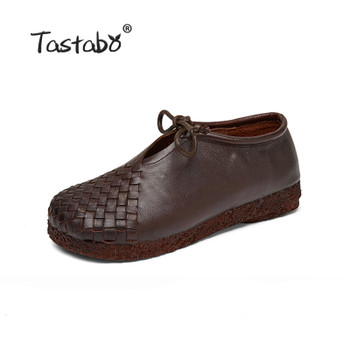 Tastabo Women Flat Shoes Lace Up Moccasins Mother Soft Genuine Leather Ladies Shoes Handmade Flats Black Casual Women Shoes