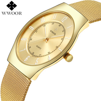 2017 WWOOR Top Brand Luxury Men Ultra Thin Waterproof Gold Watch Men's Quartz Analog Clock Male Sports Watches relogio masculino