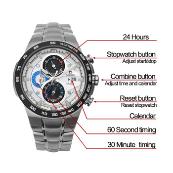 Luxury Brand Top Mens Military Sports Watches Men Quartz Waterproof Wristwatch 50m CASIAM Male Sport Steel Watch Masculine Clock