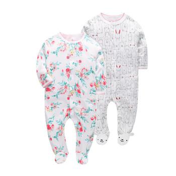 2 pcs/pack  2018 Super Soft Baby Rompers cotton Overalls Newborn Clothes Long Sleeve Roupas de beb Infant kids girl clothing