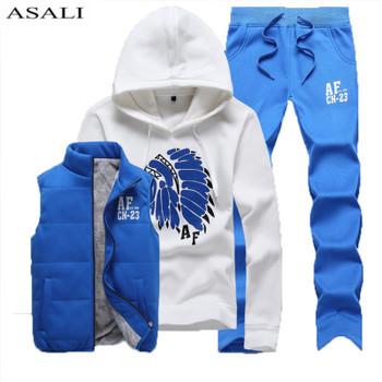 Three-Piece Sweat Suit Tracksuit Men Winter Thick Fleece Hoodies Men Track suits Jacket Vest Pants Men Clothing Set Men Coat