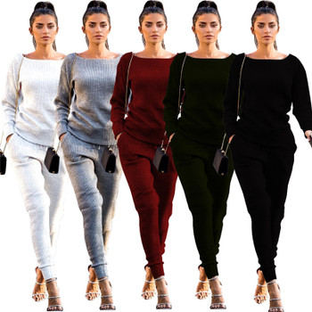 SexeMara cotton knitted tracksuits women two piece set top and pants casual solid sweater sets 2017 winter sweat suits D62-AG82