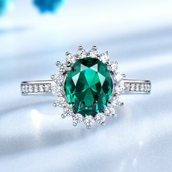 UMCHO Green Created Nano Emerald Real 925 Sterling Silver Vintage Birthstone Ring For Women Silver Engagement Brand Fine Jewelry