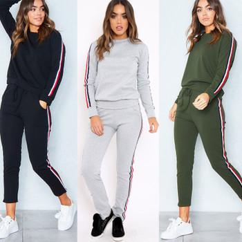 2017 Autumn Winter Knit Sportswear Women Long Sleeve Side Stripe Tracksuit Female Casual Conjuntos Ankle-Length Pants Womens Set