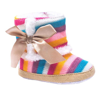 0-18M Baby Girl Boy Bowknot Boots Fashion Newborn Winter Warm Colorful Boots Christmas Newborn Infant Sole Shoes Xmas Gifts #c