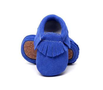 New hot sell genuine suede leather Baby moccasins shoes fringe solid hard Rubber sole baby shoes first walker toddler baby boots