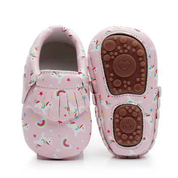 Unicorn Newborn Baby Girls Boys Shoes Moccasins Dinosaur Printing Infant Toddler Hard Sole Crib Footwear First Walker Shoes 0-4Y