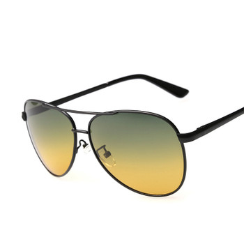 2018 Top quality Pilot sunglasses Men's night vision driving polarized sunglasses HD UV400 multifunction sport Glasses