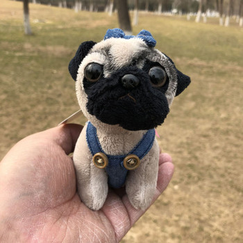 Cute Shar Pei Pug Jeans Denim suspenders plush toy christmas Mini dog keychain charms