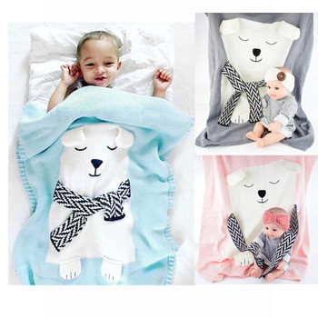 Newborns Envelope Baby Blanket knitted Bear Soft Baby Swaddle Wrap Warm Wool Kids Cotton Bedding Cover newborn photography props