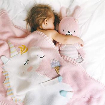 60*120cm Baby Blankets Infant Kids Unicorn animal Soft Warm knit Swaddle Kids Bath Towel Lovely Newborn Baby Bedding Props