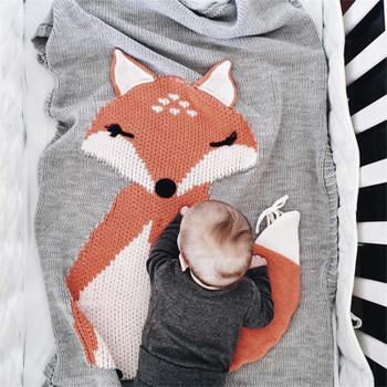 Baby Blanket Fox Animals Pattern Sleep Bag Soft Warm Wool Swaddle Kids Bath Towel Play Mat Decorative blankets 73x110cm