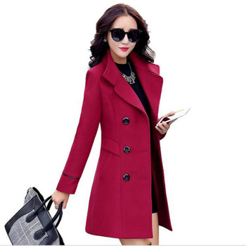 Autumn winter 2018 new fashion women's wool coat double breasted coat elegant bodycon cocoon wool long coat tops LU308