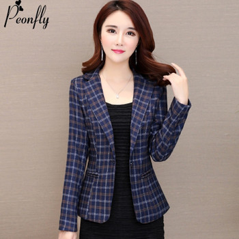 PEONFLY Fashion New Women Vintage Long Sleeve Plaid Blazers Jacket Female Single Button Pockets Elegant Slim Coat Autumn Winter