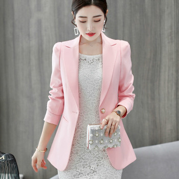 PEONFLY New Solid Color Black Simple Women Blazers Suit Slim Jacket Work Wear Office Female Elegant Business Coats Autumn Winter