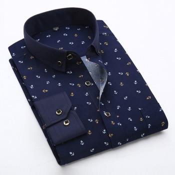 New 2020 Spring Men Casual Shirts Fashion Long Sleeve Brand Printed Button-Up Formal Business Polka Dot Floral Men Dress Shirt