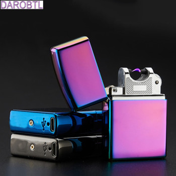 Electronic Cigarette lighter Windproof ultra-thin Metal pulse USB Rechargeable Flameless Electric Arc Cigar Cigarette Lighter