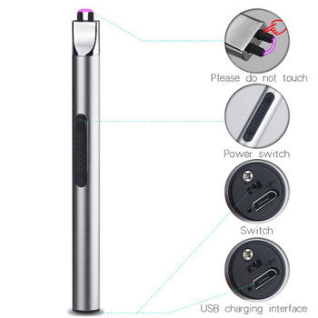 Long Kitchen Arc Pulsed USB Lighter BBQ Candle Flameless Windproof Electric Lighters Rechargeable Electronic Cigarette Lighter