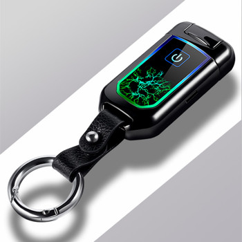 2018 USB Thunder fingerprint Lighter Electronic Lighter Cigarette Plasma Double Arc Palse Pulse Windproof  Gadgets for Men Gift