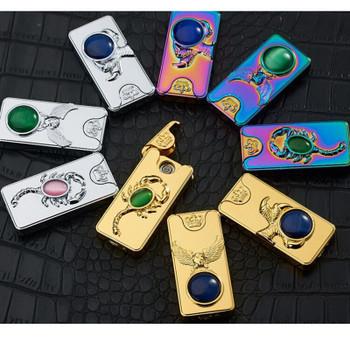 Luxury USB Electronic Lighter Rechargeable Flameless Lighter Metal Windproof Cigarette Lighter Scorpion Plasma Lighter Gadgets