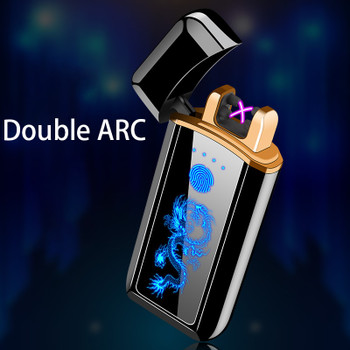Double Arc Electronic Lighter USB Plasma Lighter For Cigarette Smoking With Free Laser Name On Lighter