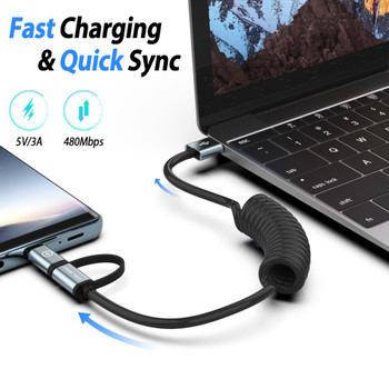 USB Charger USB Type C & Micro USB Spring Coiled Cable 2-IN-1 USB-C Retractable Extension Charger Cable for Samsung Mobile Phone