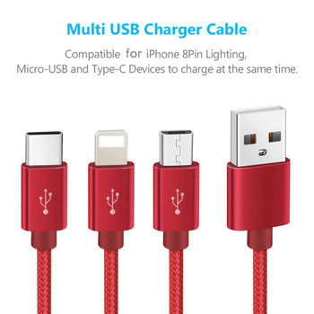 3 in 1 Micro USB Cable 2A Fast Charging Data Sync Quick Charger For Lightning iOS iPhone Mobile Phone Type C Cable For xiaomi