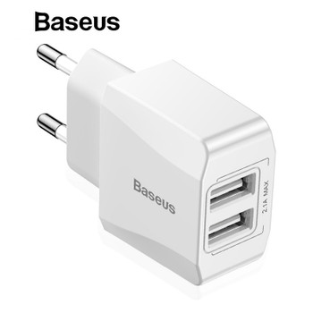 Baseus Mini Dual USB Charger EU Plug Wall Charger Power Adapter Compact USB Charger For iPhone Samsung Xiaomi mi8 Phone Charger