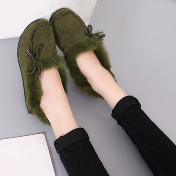 TINO KINO Women Fur Flat Warm Winter Loafers Ladies Plus Size Moccasins Lace Up Female Comfort Shoes Handmade Fashion Sewing