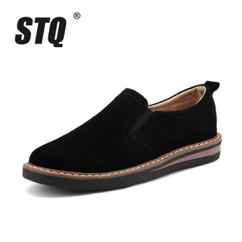 STQ 2019 Spring women flats sneakers shoes women slip on flat loafers suede leather shoes handmade boat shoes black oxfords 978