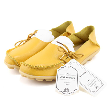 plardin 2018 Genuine Leather Bowtie Women Ballet Flats Summer Casual Women's Shoes Woman Loafers Leather Retro Nurse Mom Shoes