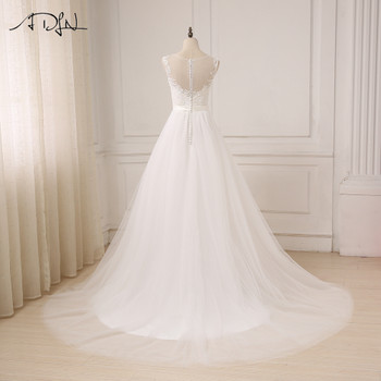 ADLN Cheap Lace Wedding Dress O-Neck Tulle Boho Beach Bridal Gown Bohemian Wedding Gowns Robe De Mariage In Stock