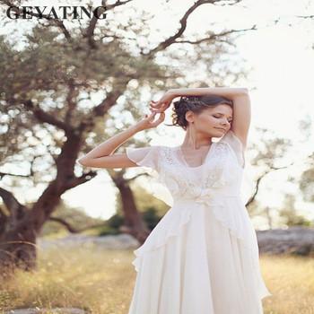 Bohemian Hippie Wedding Dresses 2018 Beach A-line Boho Wedding Dress Maternity Pregnant Bridal Gowns Backless White Lace Chiffon