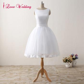 Elegant Short Wedding Dresses 2017 White Tulle Satin Knee-Length Bridal Gowns Bakless Scoop Neckline A Line Wedding party Dress