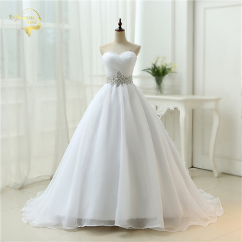 Hot Sale White Vestido De Noiva 2019 New Design A line Perfect Belt Robe De Mariage Strapless Lace Up Wedding Dresses OW 7799