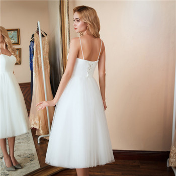 Short Beach Wedding Dresses NEW Vestido Noiva Praia Simple New White Real Photo Backless A-Line Prom Party Bridal Gowns