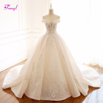 Fmogl Gorgeous Appliques Scoop Neck Lace Princess Wedding Dress 2018 Delicate Beaded A-Line Vintage Bridal Gown Vestido de Noiva