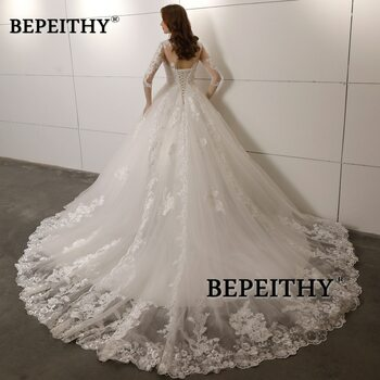 Vestido De Novia Three Quarter Sleeves Lace Wedding Dress 2018 Open Back Vintage Bridal Dresses Ball Gown Hot Sale