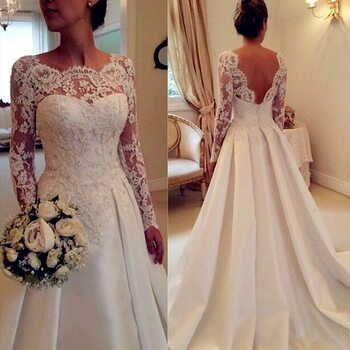 White Ivory Long Sleeve Lace Wedding Dresses 2018 Casamento Sheer A Line Custom Made Bridal Gowns Open Back Robe De Mariee