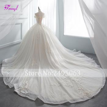Fmogl Gorgeous Appliques Chapel Train Ball Gown Wedding Dress 2018 Luxury Beaded Boat Neck Princess Bridal Gown Vestido de Noiva