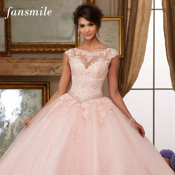 Fansmile Tulle Mariage Vestido De Noiva Pink Lace Wedding Dresses 2018 Plus Size Long Train Wedding Gowns Bride Dress FSM-458T