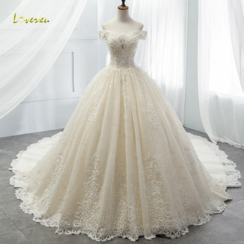 Loverxu Boat Neck Lace Vintage Ball Gown Wedding Dress 2018 Royal Train Appliques Beaded Princess Bridal Gown Vestido De Noiva