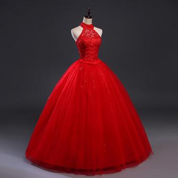 Fansmile Red Halter Vintage Lace Up Wedding Dress Vestidos de Novia 2017 Plus Size Bridal Gowns Under $50 FSM-277F